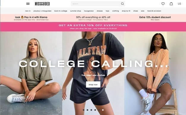 missguided home page usa